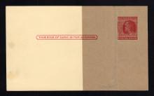 UX38 UPSS# S54BPUv-1 2c Ben Franklin, Red on Buff, Type 2, Paste-up, Mint Postal Card, Spots Left