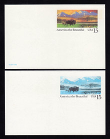 UX120c UPSS# S137ab 15c Bison Mint Postal Card, Normal + Black & Cyan on back
