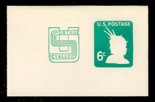 U561 6c + 2c Light Green Liberty Head, Mint Full Corner