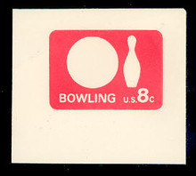 U563 8c Rose Red Bowling, Mint Full Corner