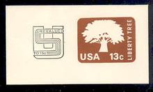 U588 15c on 13c Brown Liberty Tree, Mint Full Corner