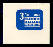 U589 3.1c Ultramarine Non Profit, Mint Full Corner