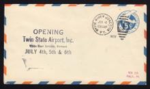 UC1a UPSS # AM-4a-28 5c Blue, die 1, Orange & Blue Border, Used Entire Flight