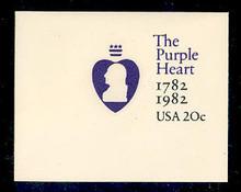 U603 20c Purple Heart, Mint Full Corner