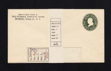 "U400 UPSS# 1490-20 1c Green on White, die 1, Mint Entire, Missing ""U"""