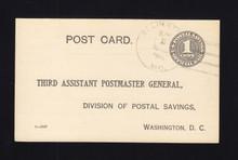 UZ1 UPSS# O1 1c Official Mail, black, Used Postal Card, Back Toned