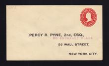U411f UPSS# 1752-20 2c Carmine on White, die 7, Mint Entire, Printed Address