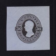 U208 30c Black on Blue, Mint Cut Square, 41 x 41