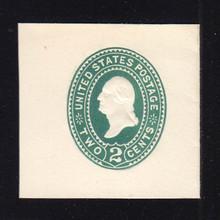 U318 2c Green on White, die 3, Mint Cut Square, 43 x 43
