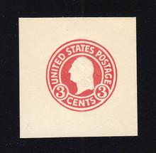 U436g 3c Carmine (error) on White, die 1, Mint Cut Square, 44 x 44