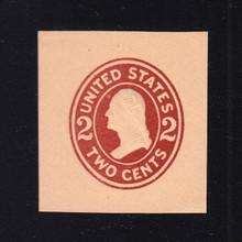 U408a 2c Brown Red on Oriental Buff, die 2, Mint Cut Square, 37 x 40