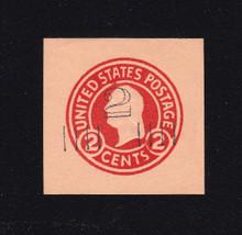 U456a 2c on 2c Carmine on Oriental Buff, die 5, Mint Cut Square, 35 x 35