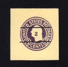 U476 2c on 3c Dark Violet on Amber, die 1, Mint Cut Square, 39 x 39