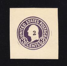 U477 2c on 3c Dark Violet on White, die 1, Mint Cut Square, 39 x 42