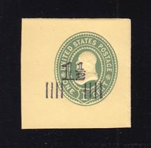 U508 1 1/2c on 1c Green on Amber, Mint Full Corner, 42 x 42