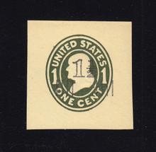 U511 1 1/2c on 1c Green on Amber, die 1, Mint Cut Square, 40 x 40