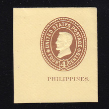 Philippines: U14 4c Brown on Amber, Mint Cut Square, 45 x 50