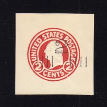 U454a 2c on 2c Carmine on White, die 1, Mint Cut Square, 40 x 40
