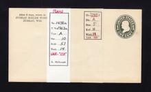 "U400 UPSS# 1478-14 1c Green on White, die 1, Mint Entire, ""--03"" Watermark Variety"