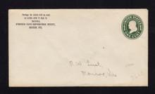 U400 UPSS# 1477-15 1c Green on White, die 1, Mint Entire, Written Add