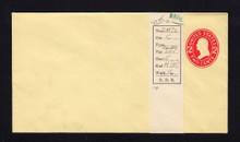 U412c UPSS# 1813-16 2c Carmine on Amber, die 4, Mint Entire, DOUBLE Envelope