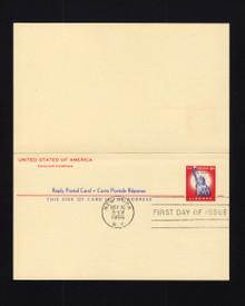 UY16b UPSS# MR26b 4c Statue of Liberfty FDC, Reply Card printed on both halves