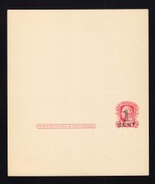 UY10 UPSS# MR17 Revalued 1c Press Printed on 2c Washington (UY8) Mint, UNFOLDED