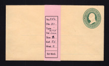 U84 UPSS # 193A 3c Green on Cream, Mint Entire, with Ruled Lines, Hinges on Back