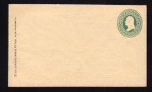 U84 UPSS # 196A 3c Green on Cream, Mint Entire, with Ruled Lines, Hinges on Back