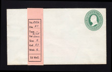 U82 UPSS # 169A 3c Green on White, Mint Entire, with Ruled Lines, Hinges on Back