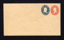 U29 UPSS # 59 3c Red & 1c Blue on Buff, Mint Entire, 2 Hinge marks on Back