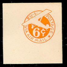 UC6 6c Orange, die 3, No Border, Mint Full Corner