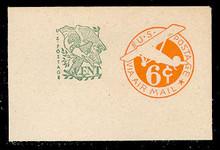 UC29 6c + 1c Orange, die 2c, Mint Full Corner