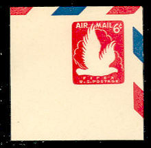 UC25 6c Eagle, Red, Mint Full Corner