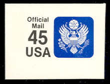 UO81 45c Great Seal, Black & Blue, Mint Full Corner