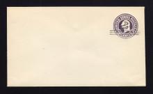 U448 UPSS# 2747-20 2c on 3c Dark Violet on White, die 1, Mint Entire