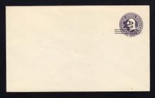 U448 UPSS# 2751-20 2c on 3c Dark Violet on White, die 1, Mint Entire