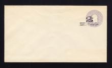 U448c UPSS# 2766-19 2c on 3c Dark Violet on White, die 7, Mint Entire, Light Shade