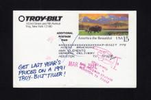 """UX120 UPSS# S137 15c Troy-Bilt """"Additioal Postage Paid"""" Revalue, 1991"""
