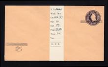 U450b UPSS# 2796-20 2c on 3c Dark Violet on Oriental Buff, Mint Entire, Addl Surcharge INV LL