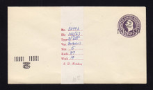 U458a UPSS# 2859-19 2c on 3c Dark Violet on White, Mint Entire, Addl Double Surcharge Inv LL