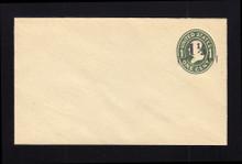 U490, UPSS #3082-20 1 1/2c on 1c Green on White, die 1, Mint Entire, WAR Paper