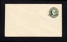 U490 UPSS# 3084-20 1 1/2c on 1c Green on White, die 1, Mint Entire