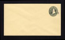 U491a UPSS# 3105-18 1 1/2c on 1c Green on Amber, die 1, Mint Entire