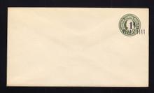 U495 UPSS# 3122-25 1 1/2c on 1c Green on White, die 1, Mint Entire