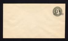 U495 UPSS# 3122b-24 1 1/2c on 1c Green on White, die 1, Mint Entire