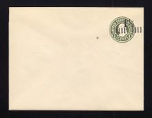 U495 UPSS# 3123-20 1 1/2c on 1c Green on White, die 1, Mint Entire
