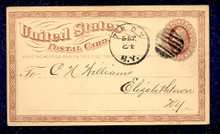 UX1 UPSS# S1 1c Liberty Head, Large Watermark USED Postal Card