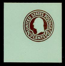 U483 1 1/2c Brown on Blue, die 1, Mint Full Corner
