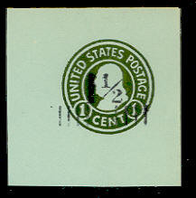 U498 1 1/2c on 1c Green on Blue, die 4, Mint Full Corner